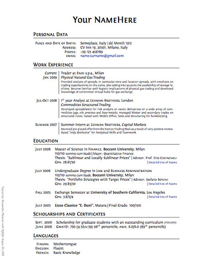 Clean Professional LaTeX CV Template Flickr Photo Sharing