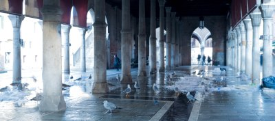 Fish market after the crowds have left. Venice italy