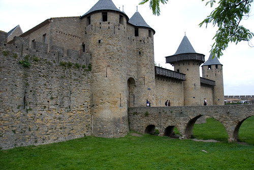 Dry castle moat at Carcassone, France