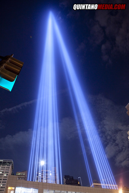 SEPTEMBER 11TH MEMORIAL IN LIGHTS