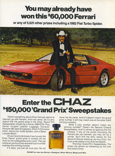 Chaz ad (Tom Selleck - Ferrari -1982)