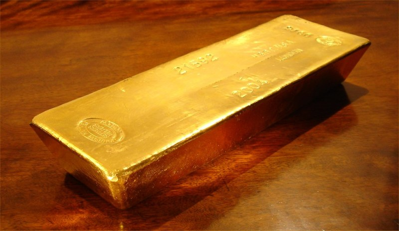 Whole Gold Bar on Wood