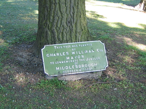 Charles Williams Middlesbrough Jubille Tree Plaque, Albert Park