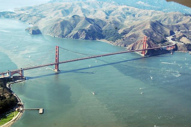 Looking West Over The Golden Gate Bridge