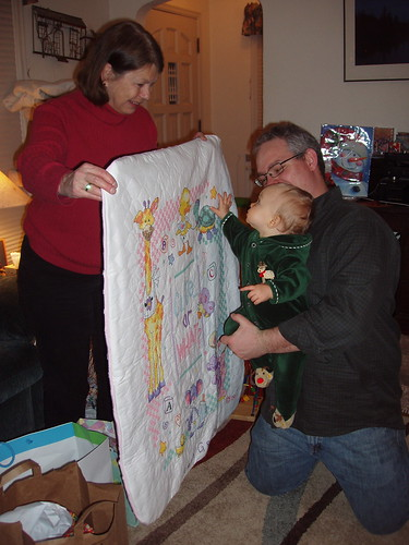 With a new quilt from Aunt Lori
