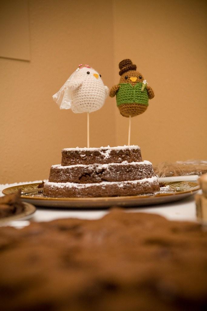 Brownie Cake & Crochet Bird Toppers
