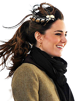 Kate Middleton and her fascinator by Vivien Sheriff