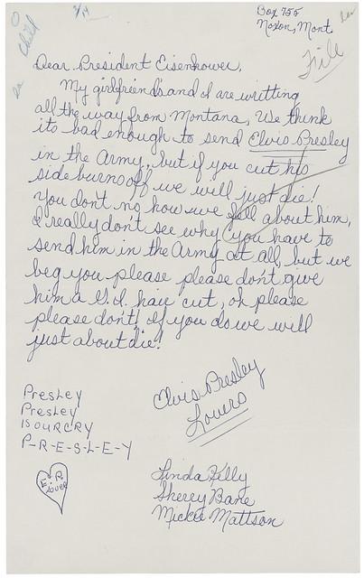 Letter from Linda Kelly, Sherry Bane, and Mickie Mattson to President Dwight D. Eisenhower Regarding Elvis Presley