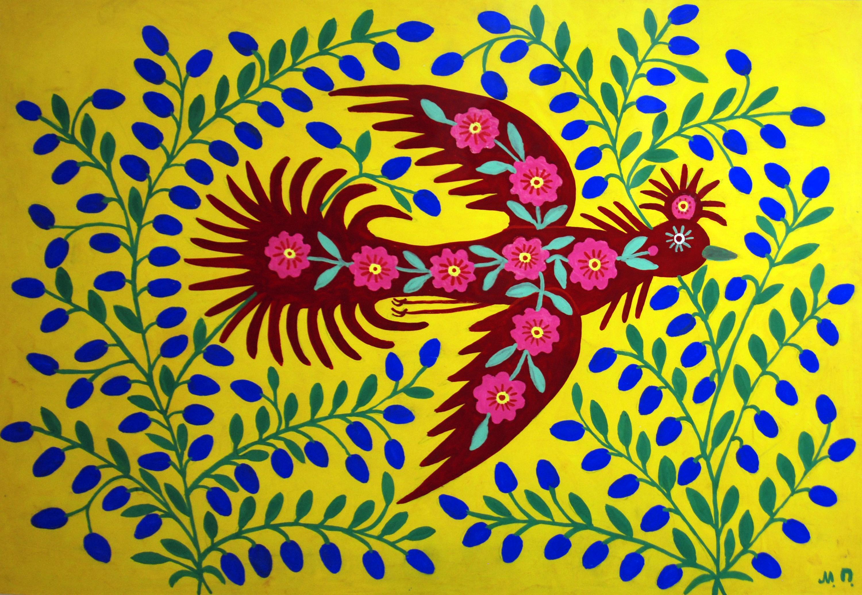 Maria Prymachenk, suggestions for Marimekko, folk art, naive, blossom bird on blueberry field