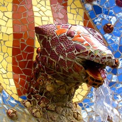 A Gaudi fountain at Park Guell in Barcelona