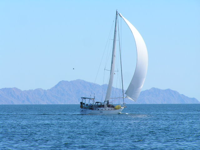 Totem sailboat sailing Baja Sea of Cortez mountains