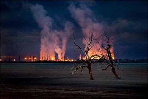 geothermal plants at dawn