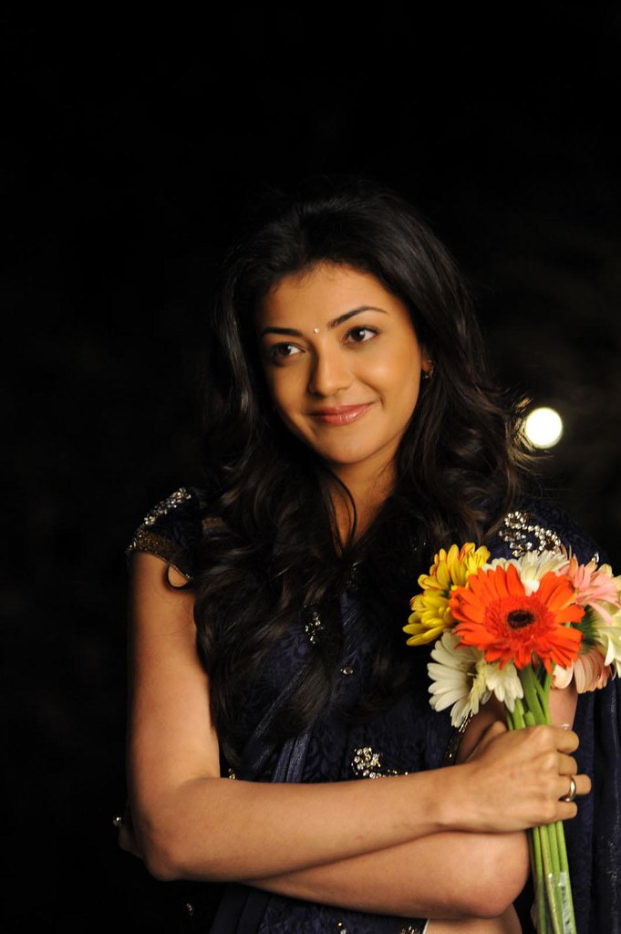 Kajal Agarwal with flowers