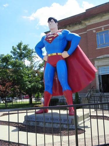 Beside the Massac County Courthouse, Superman Square, Metropolis, Illinois.