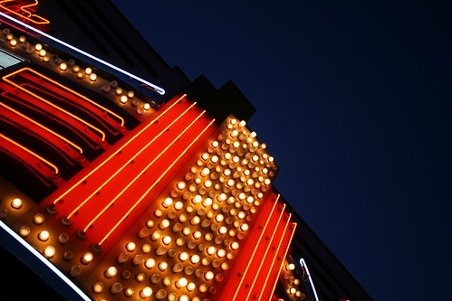 Goody Goody Gumdrops, movie theatre marquee detail. Copyright Jennifer Baker and Liberty Images