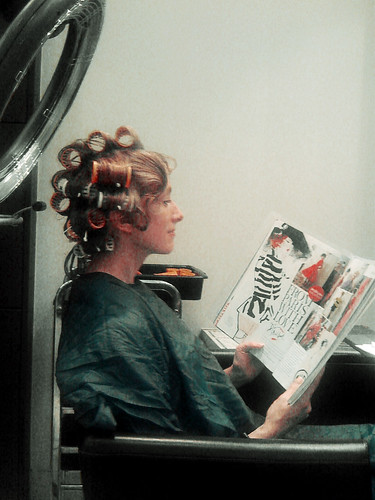 Susan at the Beauty Parlour in Curlers