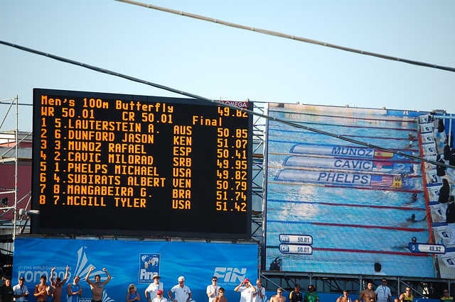 Men's 100 fly scoreboard at Roma 2009