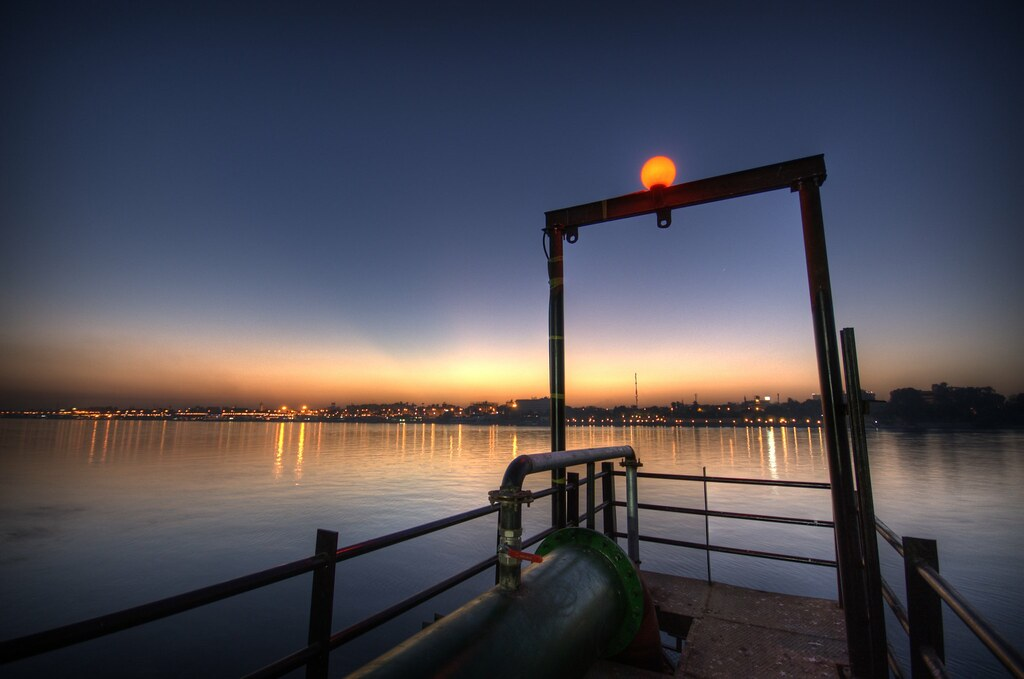 On the jetty near Luxor at dawn, Egypt (HDR)