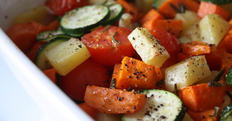 roasted vegetables, extra close