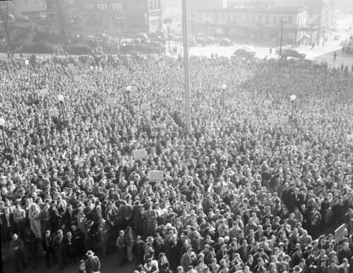 Boeing employees' protest meeting in City Hall Park, 1943