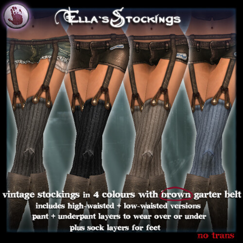 *League* Ella´s Stockings Brown Garter Natural set