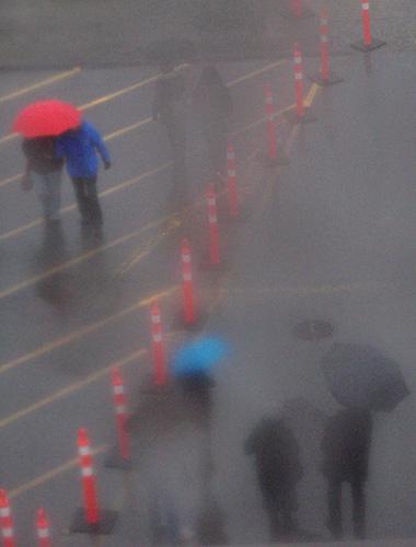 thru a rain-smeared window