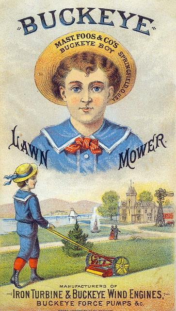 Advertising card for Buckeye Lawn Mower, late 19th century ...