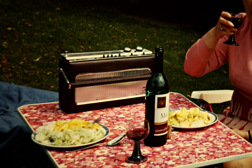 Radio and wine for perfect camping