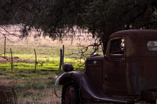 An old truck, rusting in a field.