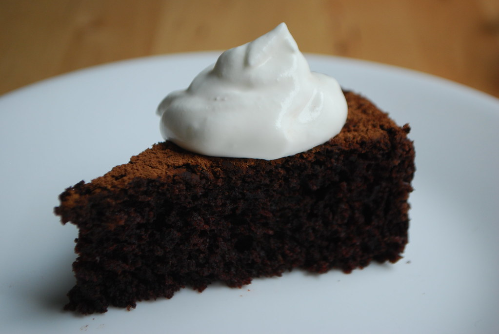 depression-era chocolate cake with whipped cream