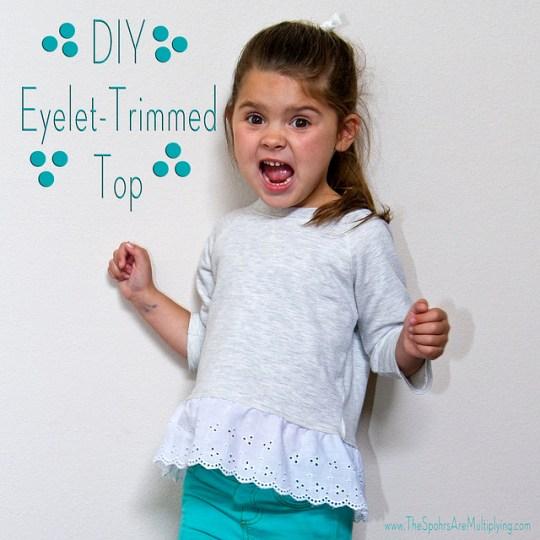 DIY Gap-Inspired Eyelet-Trimmed Top
