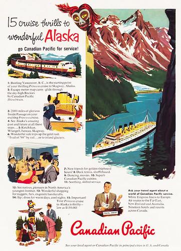 Vintage 1950s Canadian Pacific Alaska Cruise advertisement