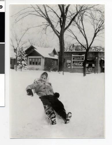 Joyce Oglansky playing in the snow, Minneapolis