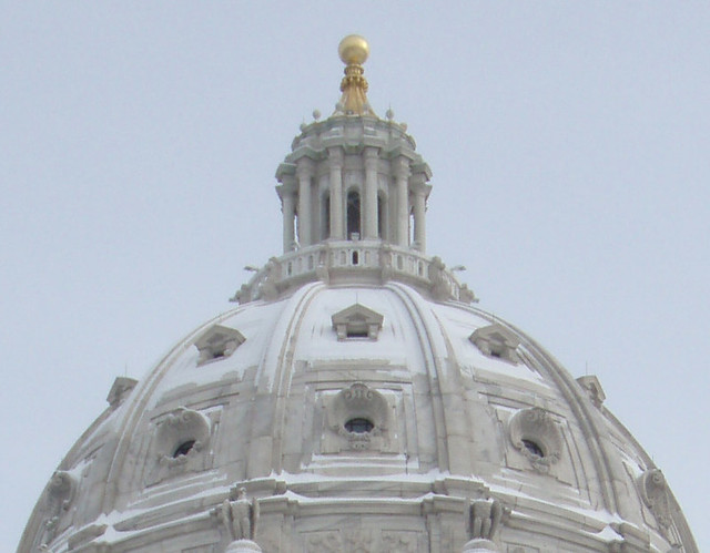 Snow on the dome of the Minnesota state capitol