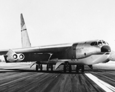 A Boeing B-52 With Landing Gear Adjusted For Crab