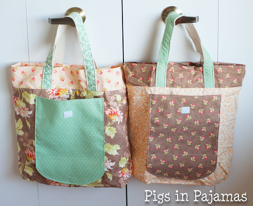 New Leaf Folding Totes open