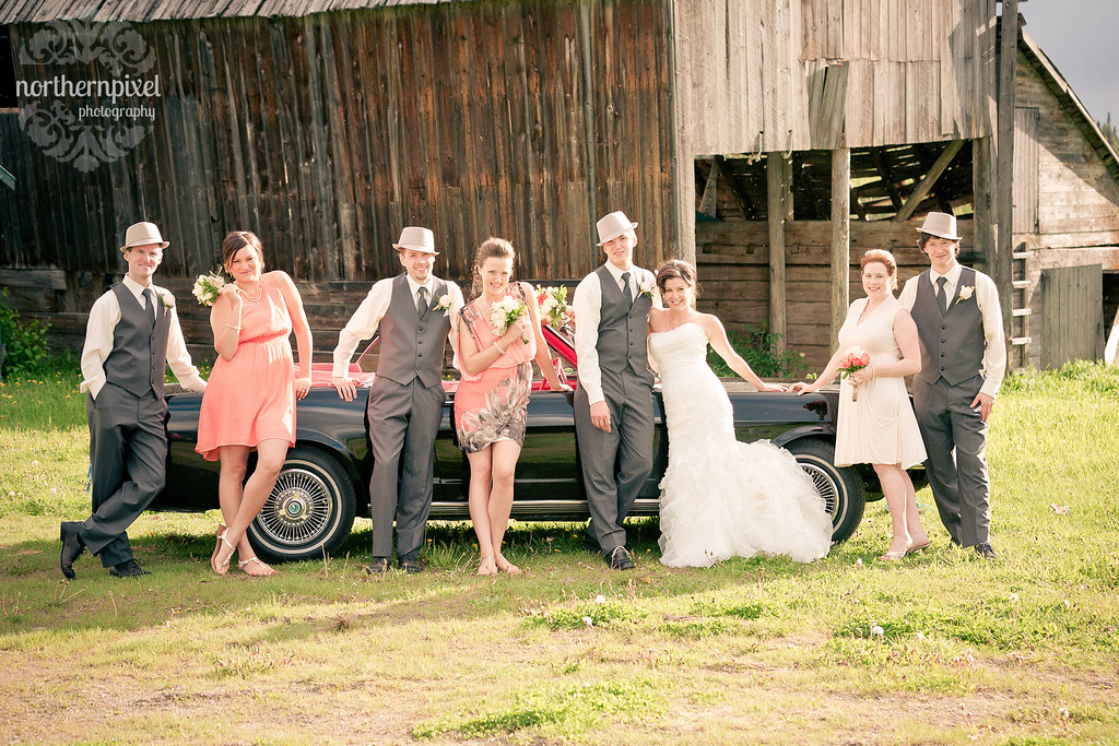 Bridal Party Ford Mustang Farm Wedding Barn