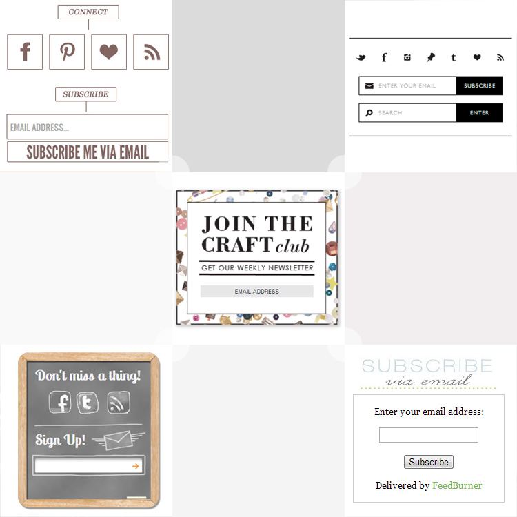 Some pretty cute opt-in and subscribe form inspiration for your blog. See more at http://DesignYourOwnBlog.com