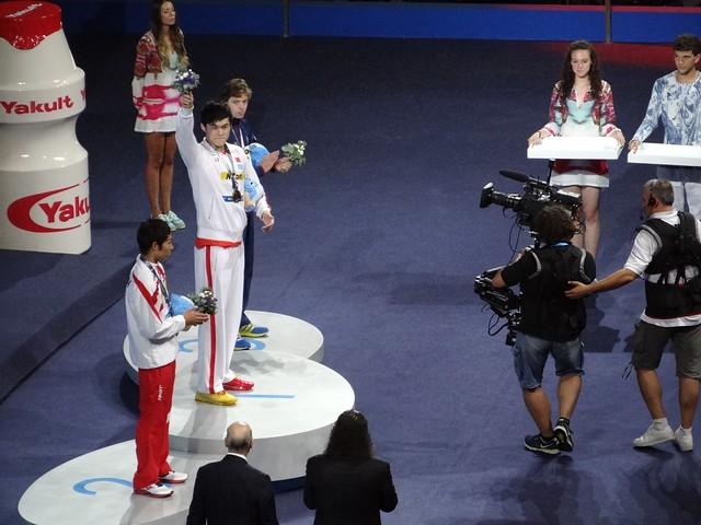 BCN2013 men's 400 free medal podium