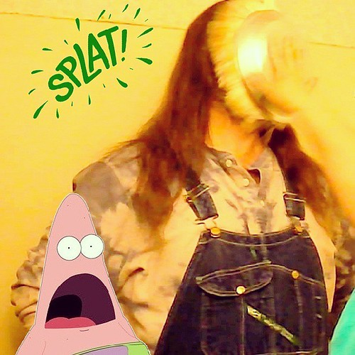 Pie in the face: Patrick Starfish is surprised by my fate. #PatrickStarfish #pieintheface #overalls #splat