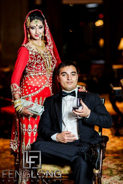 Bride and groom pose for portraits at the Ritz-Carlton