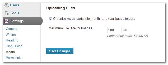 How to set the maximum image upload size in wordpress