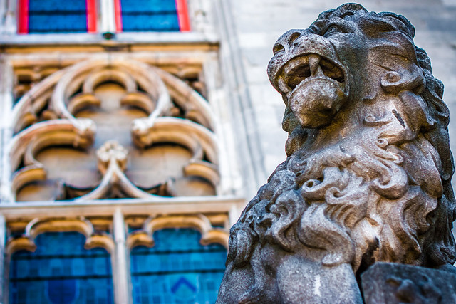 Lion Guarding Markt Square in Bruges