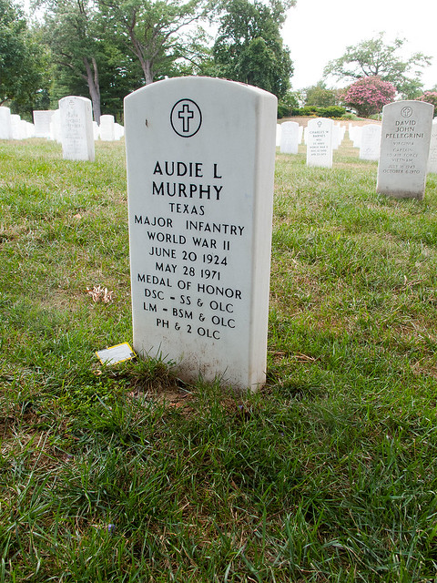 Headstone for Audie L. Murphy, Arlington National Cemetery.