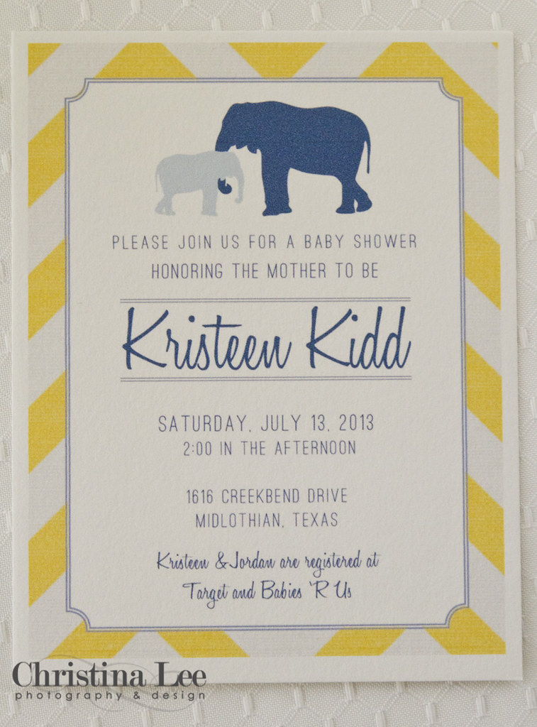 baby shower elephant invite