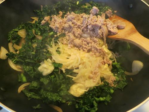 Sauerkraut, kale, bratwurst and bacon pasta