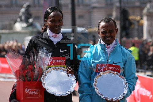 Winners presentation ceremony at the Virgin London Marathon.