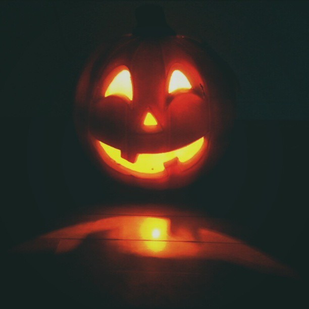 And now there is one...creepier than ever #pumpkin #jackolantern #halloween #halloween2013 #light