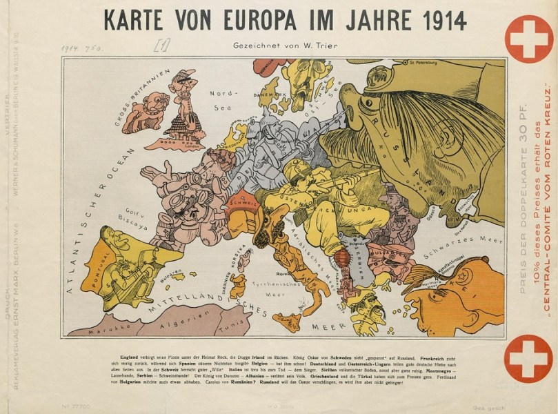 Cartoon Map of Europe in 1914     The Public Domain Review Cartoon Map of Europe in 1914