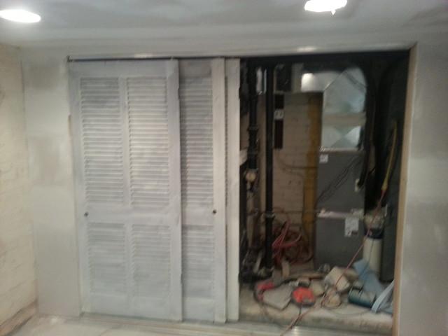 Mech closet doors primed